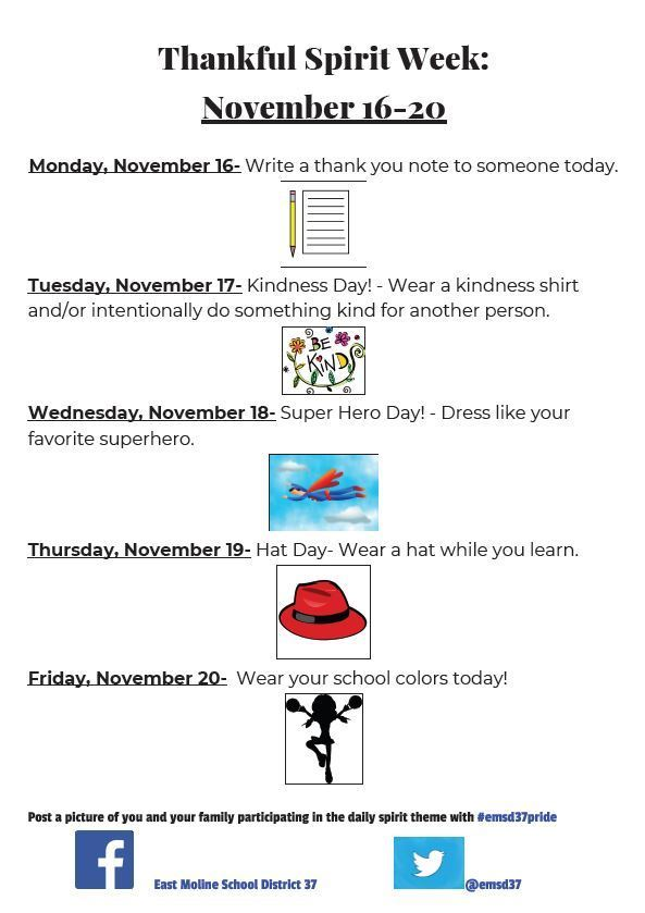 Thankful Spirit Week flyer